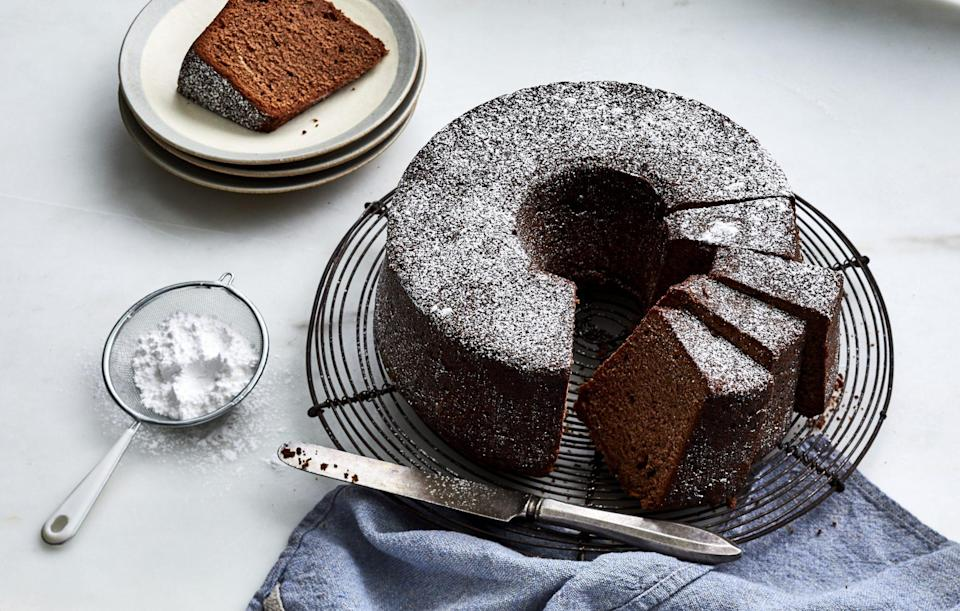 """<p><strong>Recipe: <a href=""""https://www.southernliving.com/recipes/chocolate-pound-cake"""" rel=""""nofollow noopener"""" target=""""_blank"""" data-ylk=""""slk:Classic Chocolate Pound Cake"""" class=""""link rapid-noclick-resp"""">Classic Chocolate Pound Cake</a></strong></p> <p>This indulgent chocolate cake is just the finale your fall dinner party needs.</p>"""
