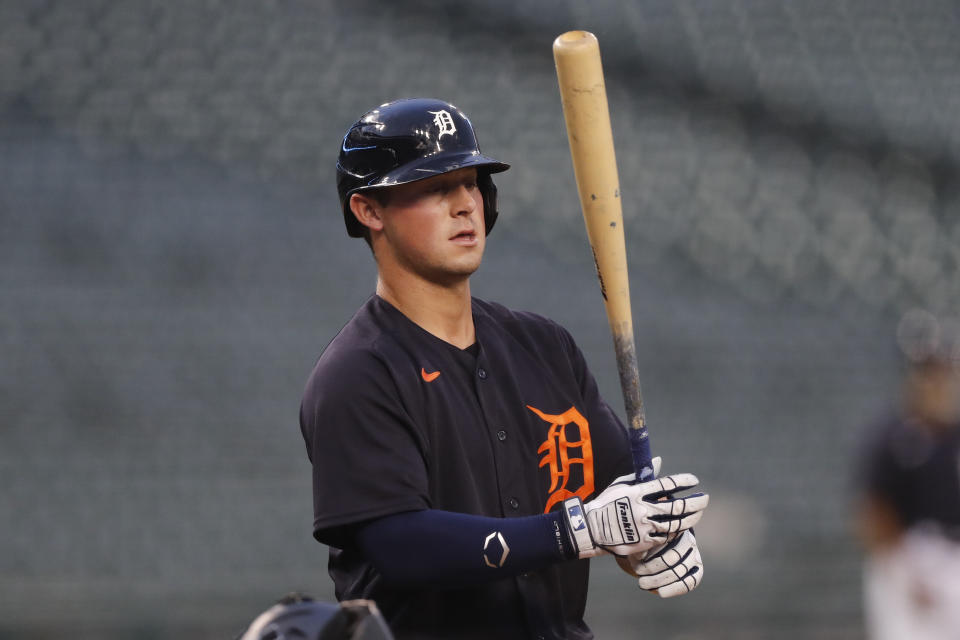 Detroit Tigers' Spencer Torkelson bats during an intrasquad baseball game, Thursday, July 16, 2020, in Detroit. (AP Photo/Carlos Osorio)