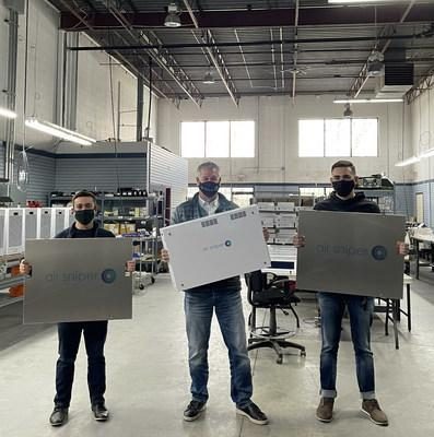 Blade Air founders (Giancarlo Sessa, left, and Aedan Fida, right) with the president of Air Sniper (Stuart Henley, middle) at the Air Sniper manufacturing facility in Calgary, Alberta. (CNW Group/Blade Filters Inc.)