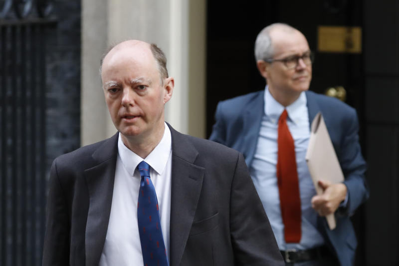 Britain's Chief Medical Officer for England Chris Whitty (L) and Britain's Chief Scientific Adviser Patrick Vallance leave 10 Downing street in London on September 30, 2020. (Photo by Tolga AKMEN / AFP) (Photo by TOLGA AKMEN/AFP via Getty Images)