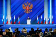 Russian President Putin delivers his annual address to the Federal Assembly in Moscow