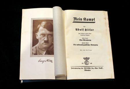 """A copy of Adolf Hitler's book """"Mein Kampf"""" (My Struggle) from 1940 is pictured in Berlin, Germany, in this picture taken December 16, 2015. REUTERS/Fabrizio Bensch"""