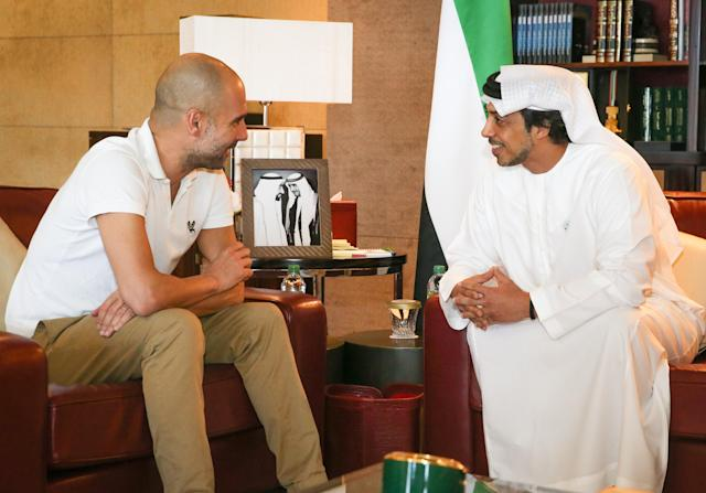 Guardiola during his meeting with the Sheikh in Abu Dhabi.