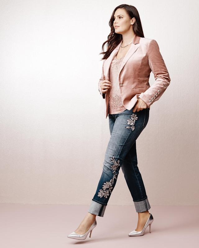 From WHBM's new plus collection, featuring the <span>Velvet Blazer Jacket in Winter Bloom</span> and <span>Sequin Lace Slim Jeans</span>.  (White House Black Market)