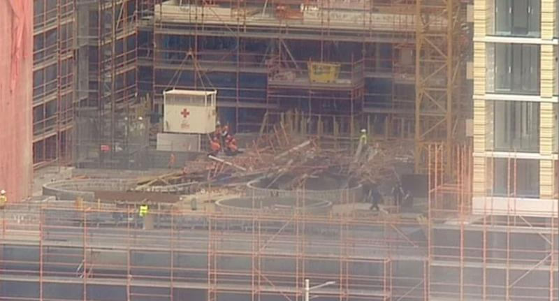 In April 18-year-old Sydney apprentice Christopher Cassaniti was crushed to death after 15-metre high scaffolding collapsed on him and a co-worker at a construction site in Macquarie Park. Source: 9 News
