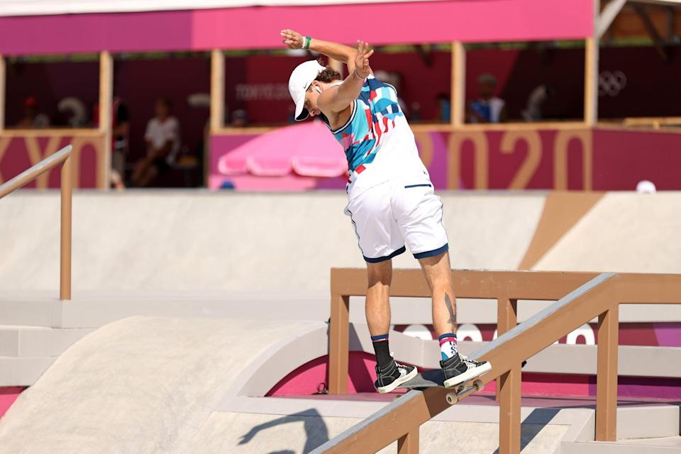 <p>We love how Jagger Eaton of Team USA showed off his print from all angles, peeking out of his Cariumas.</p>