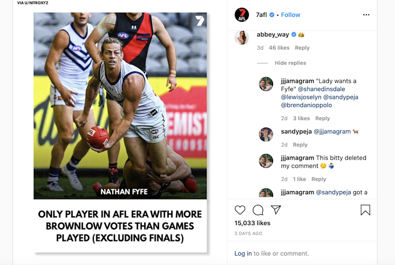 The photo of Nat Fyfe that Abbey Way commented on, pictured here on Instagram.