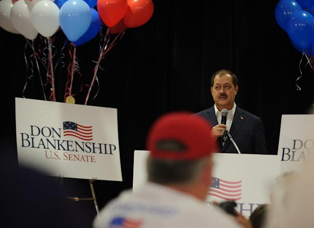 "Senate Republican primary candidate Don Blankenship addresses supporters in Charleston, W.Va., following a poor showing in the polls May 8, 2018. President Trump had urged the state to vote for Blankenship's opponents, declaring the former coal executive ""can't win the General Election."" (Photo: Jeff Swensen/Getty Images)"