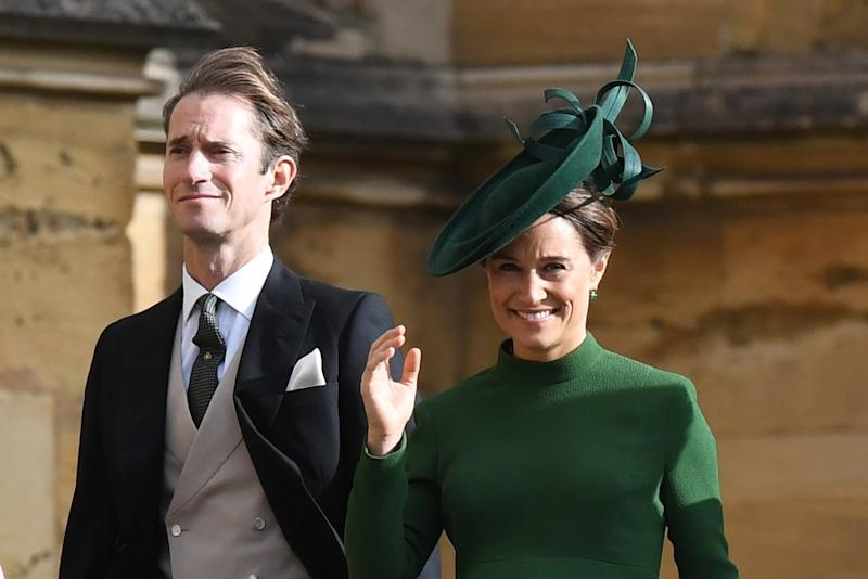 James Matthews and Pippa Middleton attended the royal wedding ceremony of Princess Eugenie days before welcoming their new son: EPA
