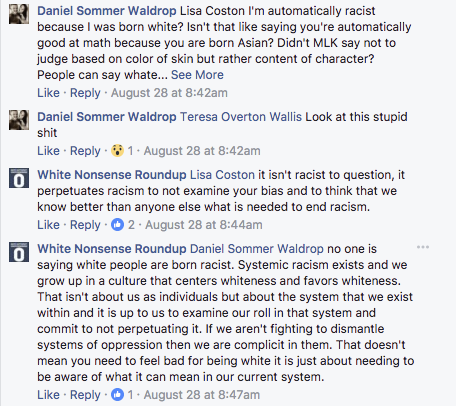 An exchange on the White Nonsense Roundup Facebook page (White Nonsense Roundup)