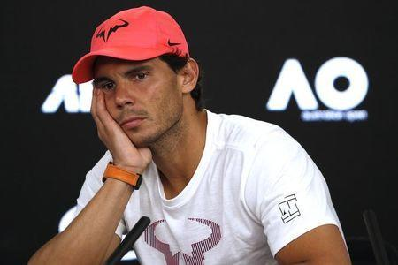 FILE PHOTO: Tennis - Australian Open - Quarterfinals - Rod Laver Arena, Melbourne, Australia, January 23, 2018. Spain's Rafael Nadal during a press conference after retiring from his match due to injury against Croatia's Marin Cilic. REUTERS/Edgar Su