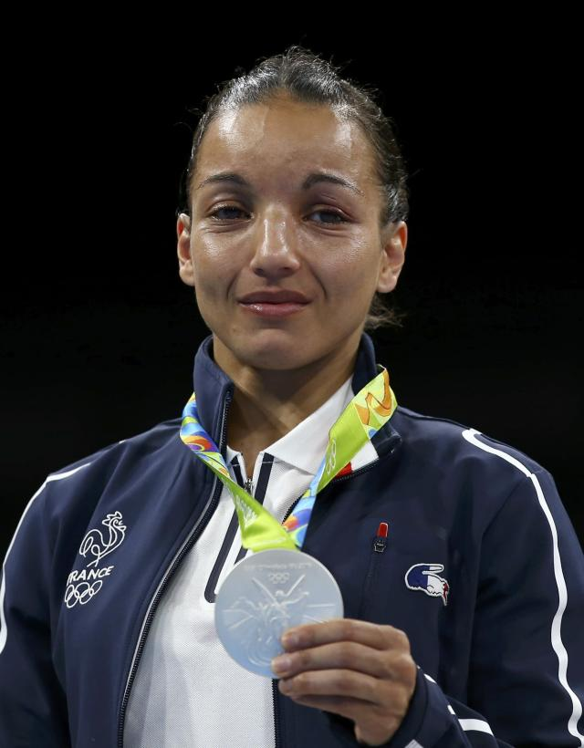 2016 Rio Olympics - Boxing - Victory Ceremony - Women's Fly (51kg) Victory Ceremony - Riocentro - Pavilion 6 - Rio de Janeiro, Brazil - 20/08/2016. Silver medallist Sarah Ourahmoune (FRA) of France poses with her medal. REUTERS/Peter Cziborra FOR EDITORIAL USE ONLY. NOT FOR SALE FOR MARKETING OR ADVERTISING CAMPAIGNS.