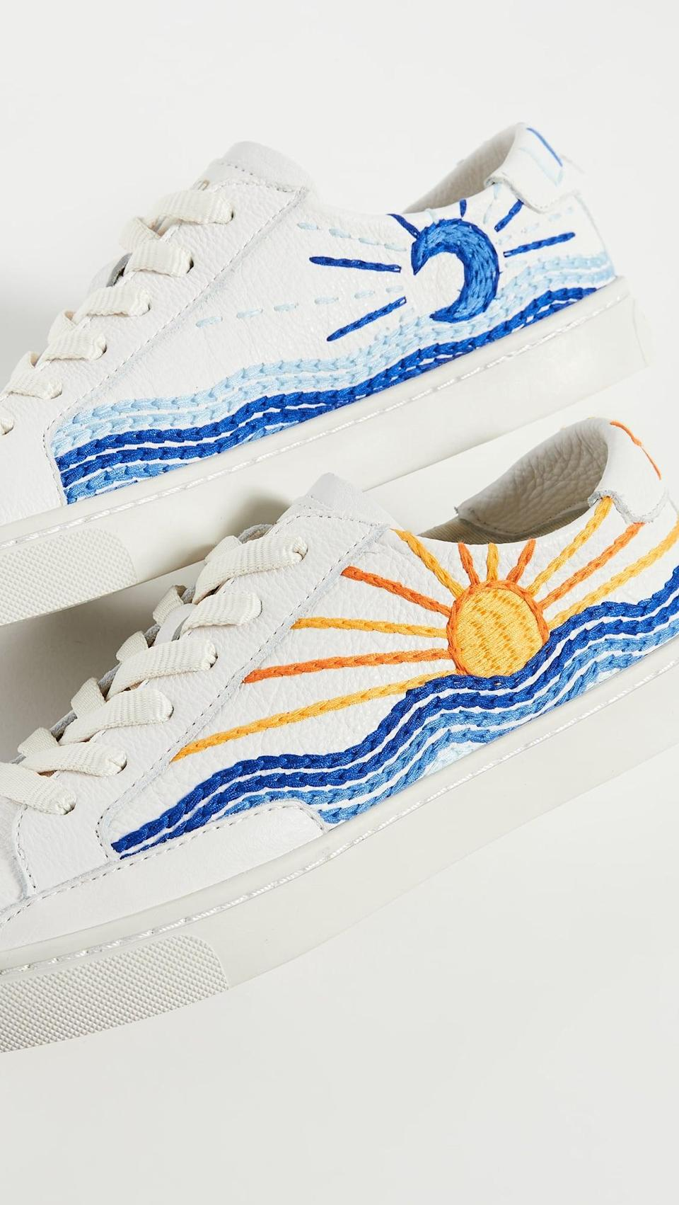 "<p>The embroidery on these <a href=""https://www.popsugar.com/buy/Soludos-Sunrise-Sunset-Sneakers-584515?p_name=Soludos%20Sunrise%20Sunset%20Sneakers&retailer=shopbop.com&pid=584515&price=139&evar1=fab%3Aus&evar9=47571677&evar98=https%3A%2F%2Fwww.popsugar.com%2Ffashion%2Fphoto-gallery%2F47571677%2Fimage%2F47571944%2FSoludos-Sunrise-Sunset-Sneakers&list1=shopping%2Cshoes%2Csneakers%2Csummer%2Csummer%20fashion%2Cfashion%20shopping&prop13=mobile&pdata=1"" rel=""nofollow noopener"" class=""link rapid-noclick-resp"" target=""_blank"" data-ylk=""slk:Soludos Sunrise Sunset Sneakers"">Soludos Sunrise Sunset Sneakers</a> ($139) is incredible.</p>"