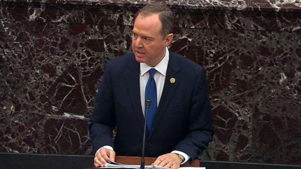 PHOTO: In this screengrab taken from a Senate Television webcast, House manager Rep. Adam Schiff speaks during impeachment proceedings against U.S. President Donald Trump in the Senate at the U.S. Capitol on Feb. 3, 2020, in Washington, DC. (Senate Television via Getty Images)