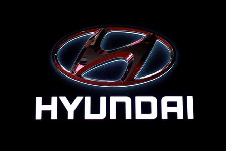 FILE PHOTO: The logo of Hyundai Motor is pictured at the second media day for the Shanghai auto show in Shanghai
