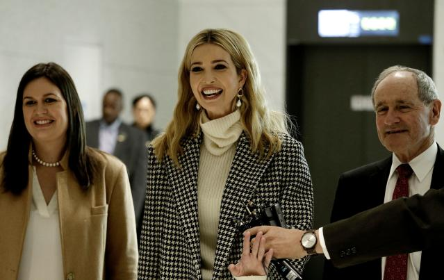 Ivanka Trump arrives in South Korea for the 2018 Winter Olympics, along with White House Press Secretary Sarah Huckabee Sanders (left) and Idaho senator Jim Risch. (Getty)