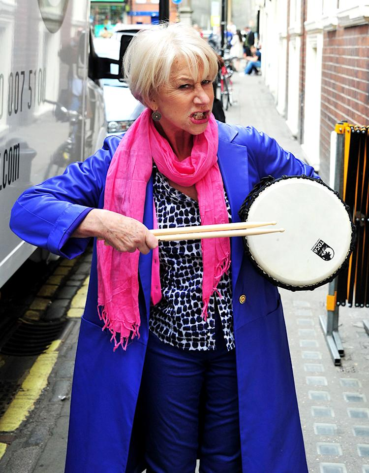 Helen Mirren is presented with a drum from the As One In The Park street band, the Gielgud Theatre, London, Britain - 07 May 2013