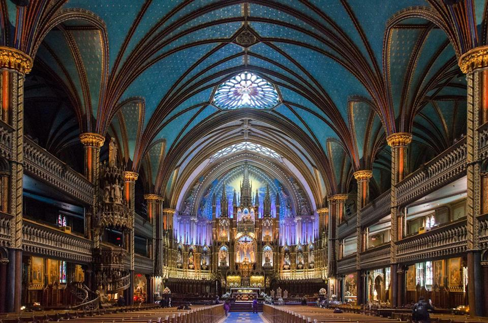 <p>Montreal's Notre-Dame is best known for its breathtaking, vibrant interiors and is a jewel of Quebec's religious history. The Gothic Revival structure was built in the 1820s and features dual towers reminiscent of Paris's eponymous cathedral. </p><p>Notre-Dame's striking interior design can be attributed to local artist, Jean-Baptiste Lagacé, who was supervised by architect Victor Bourgeau. Alongside being a place of Catholic worship, prayer, and teaching, the cathedral houses state funerals, celebrity weddings, and year-round musical performances featuring a 7,000-pipe Casavant organ.<br></p>