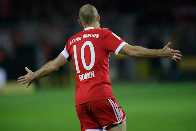 "<a class=""link rapid-noclick-resp"" href=""/soccer/players/arjen-robben/"" data-ylk=""slk:Arjen Robben"">Arjen Robben</a> scored the first goal of Bayern Munich's win over <a class=""link rapid-noclick-resp"" href=""/soccer/teams/borussia-dortmund/"" data-ylk=""slk:Borussia Dortmund"">Borussia Dortmund</a> on Saturday. (Getty)"