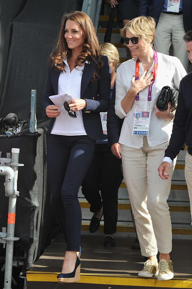 LONDON, ENGLAND - JULY 30: Catherine, Duchess of Cambridge attends the Eventing Cross Country Equestrian event on Day 3 of the London 2012 Olympic Games at Greenwich Park on July 30, 2012 in London, England.  (Photo by Pascal Le Segretain/Getty Images)
