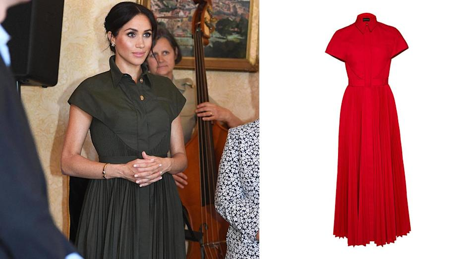 """<p>For an afternoon reception at Admiralty House on October 16, the former actress changed into a £1,728 shirt dress by American designer Brandon Maxwell. The khaki-hued number has since sold out but a red version is currently available to purchase. <a rel=""""nofollow noopener"""" href=""""https://www.modaoperandi.com/brandon-maxwell-ss19/pleated-button-up-shirt-dress?mid=40524&utm_medium=Linkshare&utm_source=8%2Fbtisdd0hQ&utm_content=Mail+Online&utm_campaign=1&siteID=8_btisdd0hQ-SDGpcLSchgM6jRsE58OGFg&utm_medium=Linkshare&utm_source=Mail+Online"""" target=""""_blank"""" data-ylk=""""slk:Shop now"""" class=""""link rapid-noclick-resp""""><strong>Shop now</strong></a>. <em>[Photo: Getty]</em> </p>"""