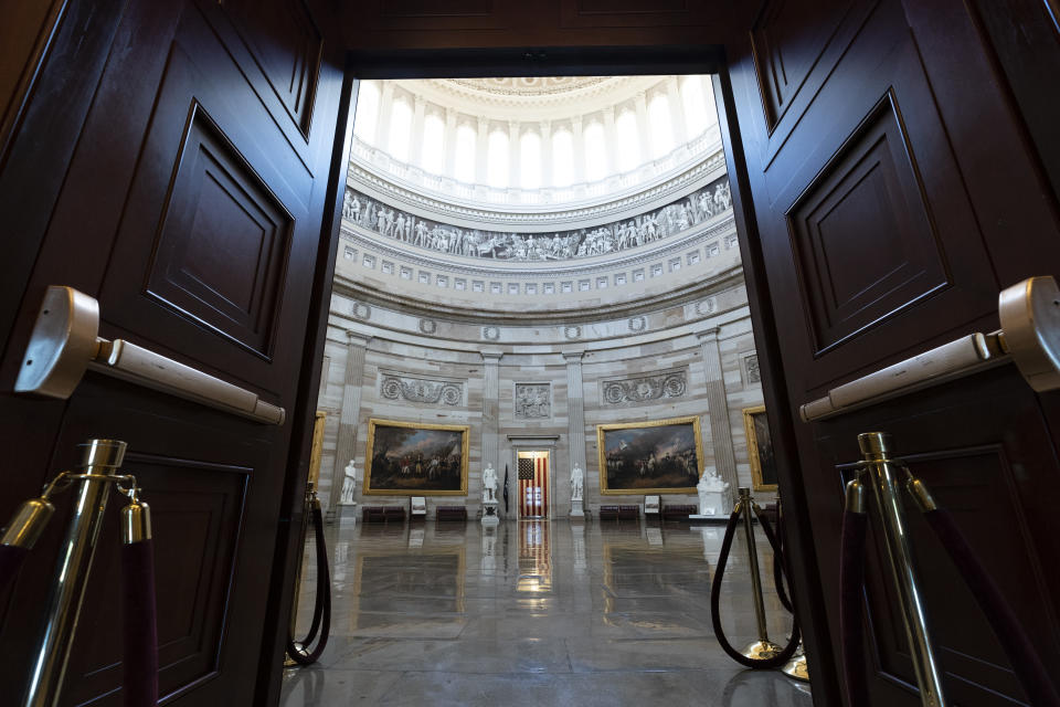 This June 30, 2021, photo shows the Rotunda of the Capitol in Washington. The U.S. Capitol is still closed to most public visitors. It's the longest stretch ever that the building has been off-limits in its 200-plus year history. (AP Photo/Alex Brandon)