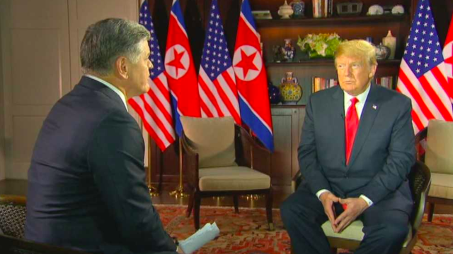 Sean Hannity interviews President Trump about North Korea. (Photo: Fox News)