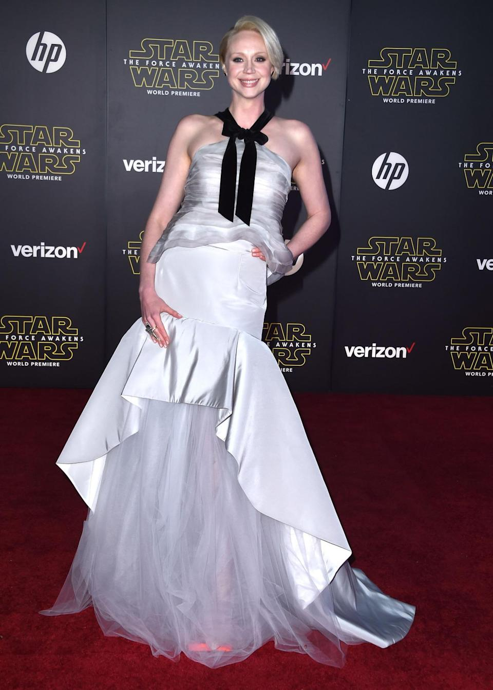 <p>Christie wore a floor-length silver Oscar de la Renta gown to the premiere of the new <i>Star Wars</i> movie, in which she stars. With a black velvet bow and serious bling on her fingers, she couldn't look less like her <i>Game of Thrones</i> character.</p><p><i>Photo: Getty Images</i><br></p>