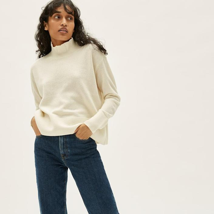 """Don't let July's sweltering temps hold you back from scoring some fall staples, like this endlessly wearable turtleneck that's now 60% off. $165, Everlane. <a href=""""https://www.everlane.com/products/womens-cashmere-square-turtleneck-ivory?collection=womens-sale"""" rel=""""nofollow noopener"""" target=""""_blank"""" data-ylk=""""slk:Get it now!"""" class=""""link rapid-noclick-resp"""">Get it now!</a>"""