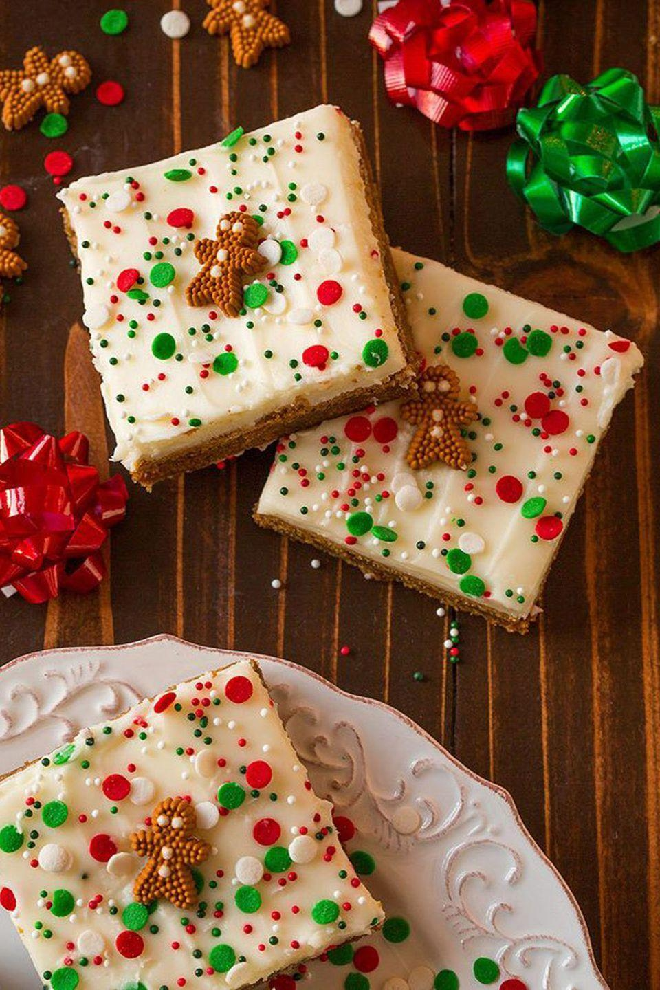 """<p>Oh the weather outside is frightful, but the smells in the kitchen are <em>so</em> delightful! Whip up your own crowd-pleasing treat—like these unbelievably good <a href=""""https://www.cookingclassy.com/gingerbread-bars-cream-cheese-frosting/"""" rel=""""nofollow noopener"""" target=""""_blank"""" data-ylk=""""slk:gingerbread bars"""" class=""""link rapid-noclick-resp"""">gingerbread bars</a>—and have each guest bring their favorite <a href=""""https://www.countryliving.com/food-drinks/g1036/easy-christmas-desserts/"""" rel=""""nofollow noopener"""" target=""""_blank"""" data-ylk=""""slk:Christmas dessert"""" class=""""link rapid-noclick-resp"""">Christmas dessert</a> for a delicious December get-together.</p>"""