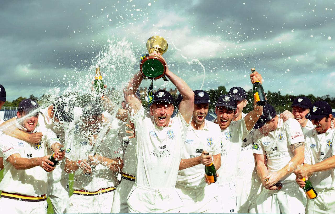 Durham captain Paul Collingwood celebrates with the team during the LV= County Championship,Division One match at the Emirates Durham ICG, Chester-Le-Street.