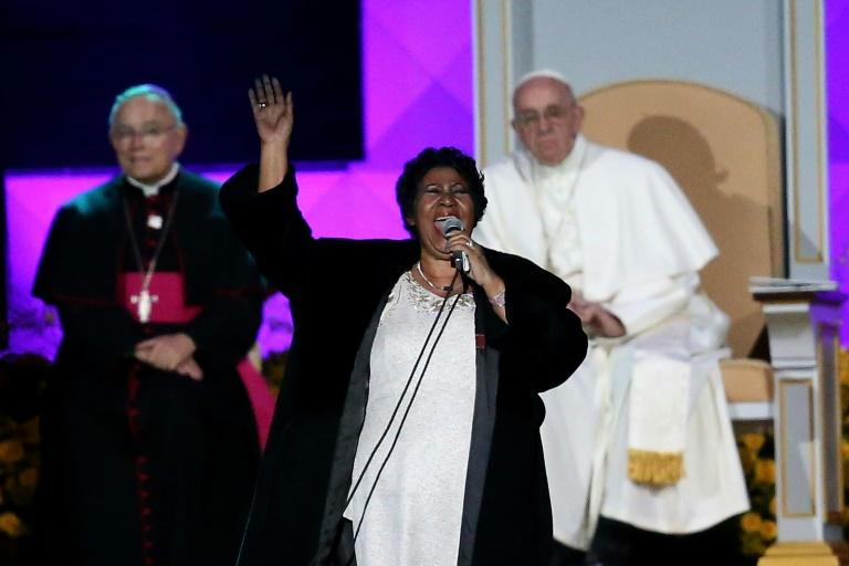 Aretha Franklin performs during the Festival of Families in Philadelphia in September 2015 attended by Pope Francis