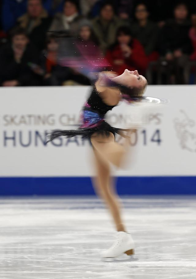 Sweden's Isabelle Olsson performs in the women's free skating at the European Figure Skating Championships in Budapest, Hungary, Friday, Jan. 17, 2014. (AP Photo/Darko Bandic)