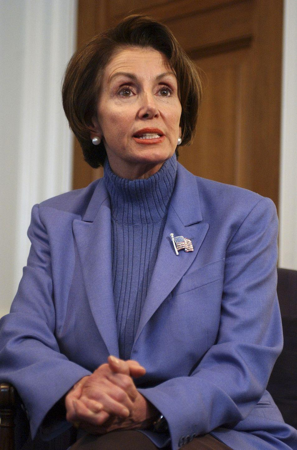<p>Pelosi speaking to the press.</p>