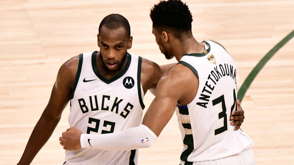 Khris Middleton and Giannis Antetokounmpo steered the Milwaukee Bucks to a cricual game four win over Phoenix. (Photo by Barry Gossage/NBAE via Getty Images).