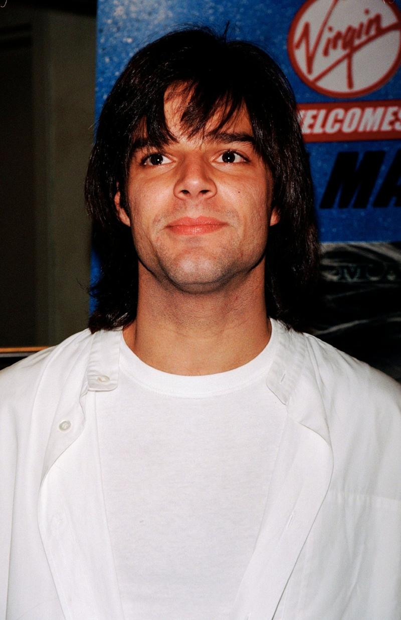 Ricky Martin with a different hair style at an autograph signing in 1996.