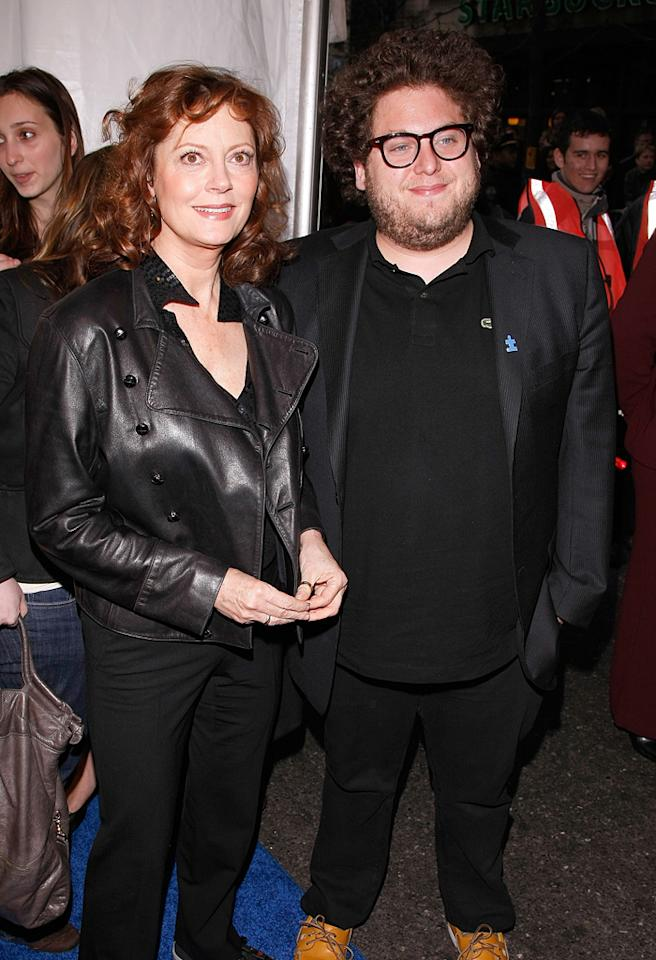 "NEW YORK - APRIL 13:  Susan Sarandon and Jonah Hill arrive for the ""Night of Too Many Stars: An Overbooked Benefit for Autism Education"" presented by Comedy Central at the Beacon Theatre on April 13, 2008 in New York City.  (Photo by Jemal Countess/WireImage)"