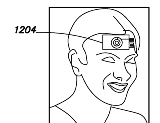 A motorised sensor on the user's forehead could be connected to a computer via bluetooth or a radio chip (Facebook/European Patent Office)