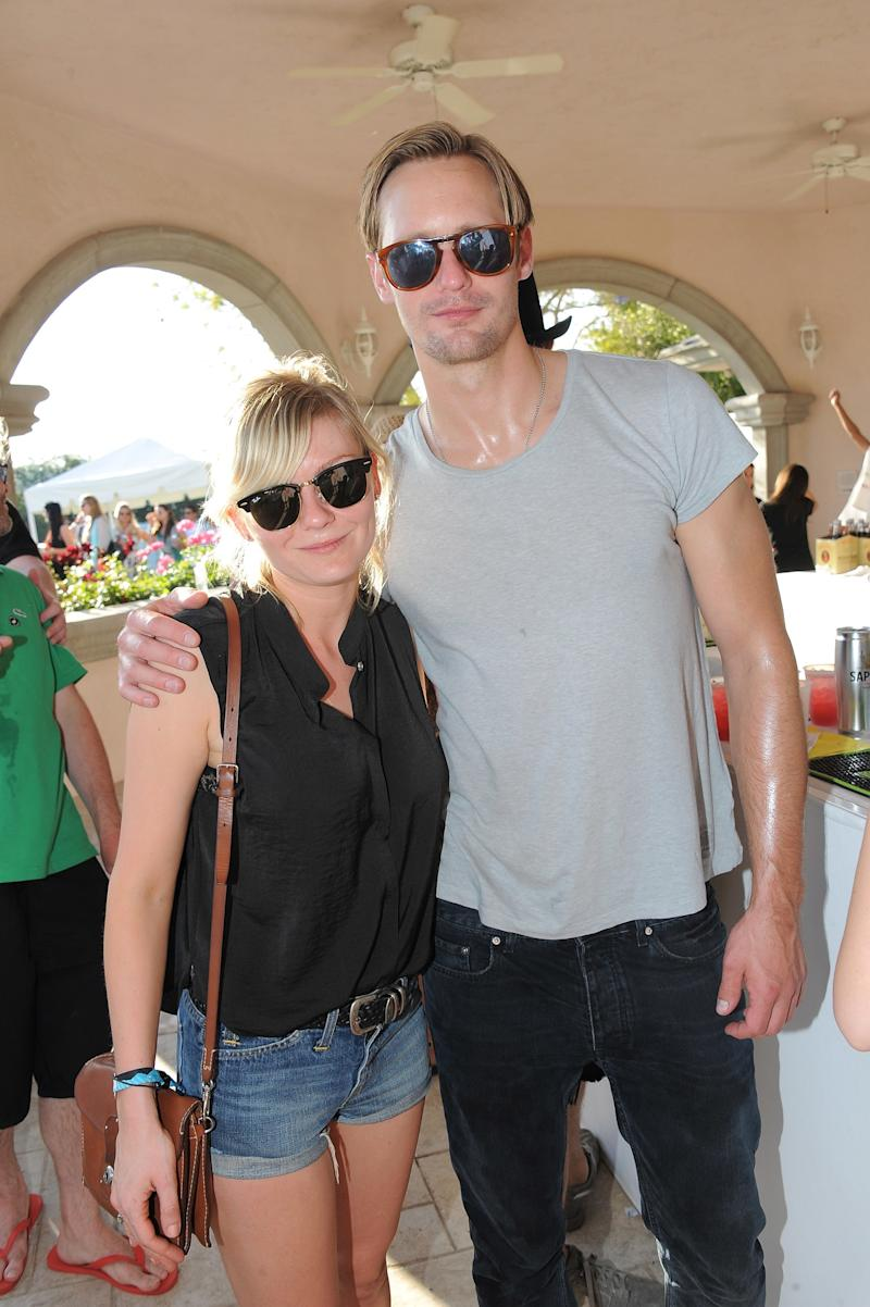 Kirsten Dunst and Alexander Skarsgård attend the Coachella Music Festival in Indio, California.