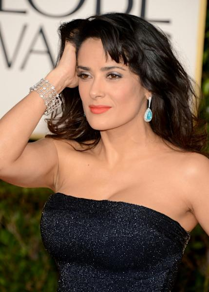 Back to black?: Some Bafta nominees have said they will repeat the gesture of Salma Hayek and others who wore black to last month's Golden Globe Awards
