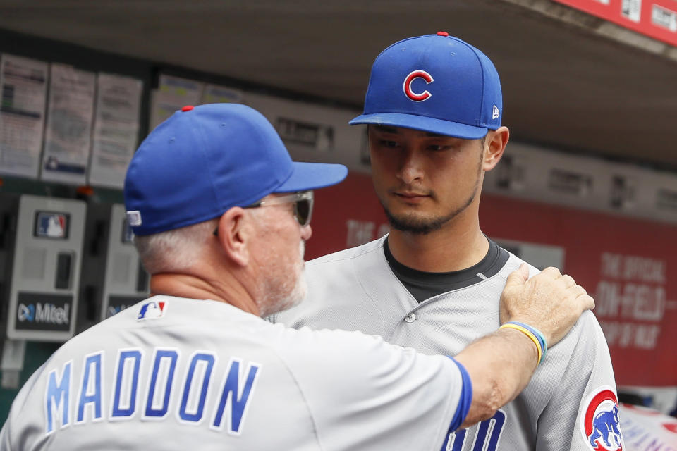 Yu Darvish is on the disabled list for the second time this season, and he knows Cubs fans aren't happy about it. (AP Photo/John Minchillo)