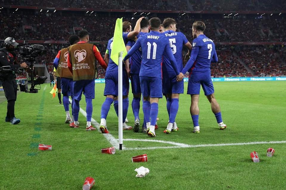 England's players were also pelted by cups and debris on an ugly night in Budapest  (The FA via Getty Images)