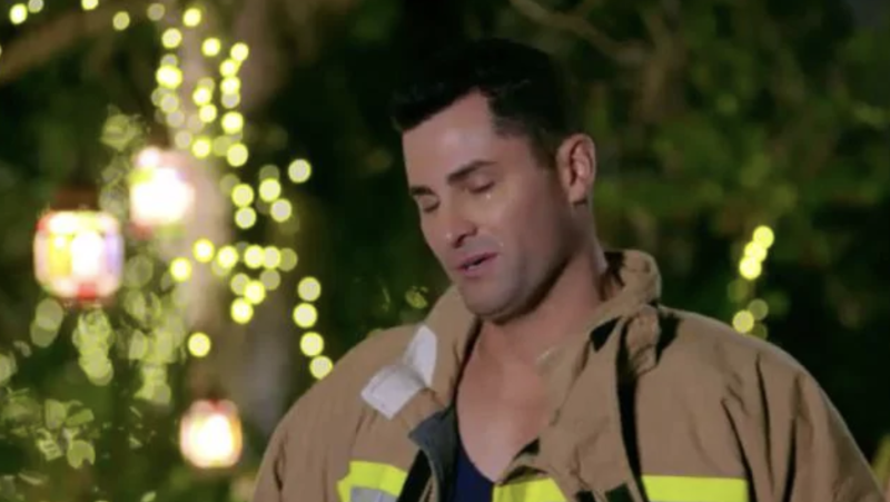 Jamie, a 39-year-old firefighter, broke down in tears during The Bachelorette premiere. Photo: Network 10