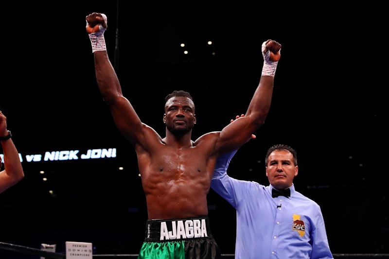 ONTARIO, CA - SEPTEMBER 30: Efe Ajagba of Nigeria celebrates his win by knockout in the first round against Nick Jones during the Heavyweight bout at Citizens Business Bank Arena on September 30, 2018 in Ontario, California. (Photo by Joe Scarnici/Getty Images)