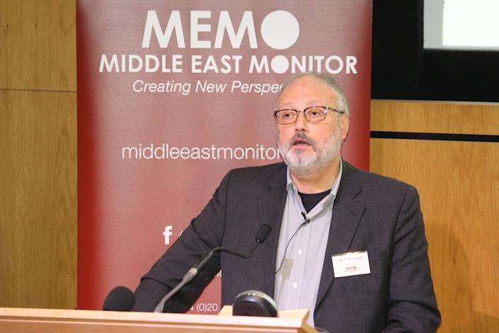 Saudi dissident Jamal Khashoggi speaks at an event hosted by Middle East Monitor in London Britain, September 29, 2018. Picture taken September 29, 2018. (Middle East Monitor/Handout via Reuters)