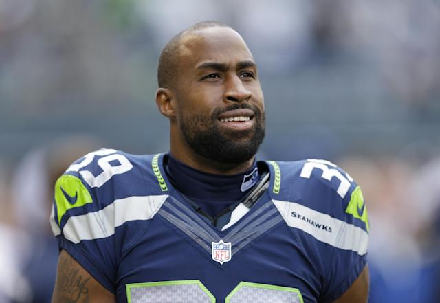FILE - In this Sept. 22, 2013, file photo, Seattle Seahawks' Brandon Browner stands before an NFL football game against the Jacksonville Jaguars in Seattle. Former Seahawks cornerback Browner has signed with the New England Patriots. (AP Photo/Ted S. Warren, File)