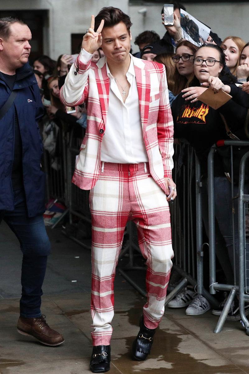 Arriving for an appearance on The Radio 1 Breakfast Show with Nick Grimshaw in London.