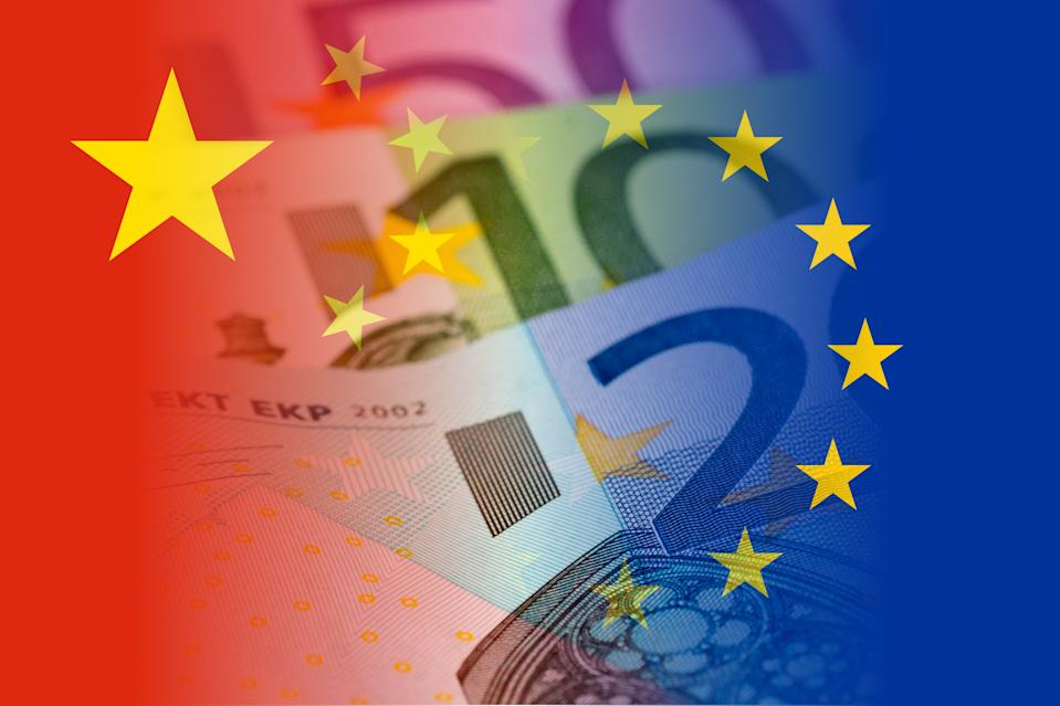 china and eu flags with euro banknotes mixed image