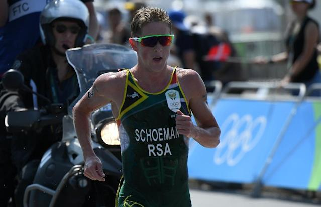 South Africa's Henri Schoeman is seen here competing during the men's triathlon at Fort Copacabana during the Rio 2016 Olympic Games (AFP Photo/Yasuyoshi Chiba)