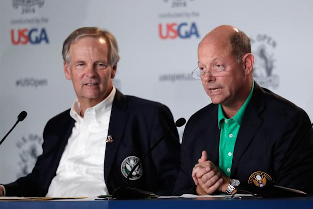 """<div class=""""caption""""> Stuart Francis (left), chairman of the USGA Championships Committee, speaks to the media along with USGA CEO Mike Davis ahead of the 2016 U.S. Open. </div> <cite class=""""credit"""">Rob Carr/Getty Images</cite>"""